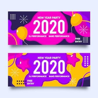 Fiesta de año nuevo de diseño plano de banner