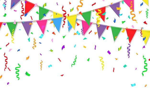 Fiesta con banderas de colores y confeti.