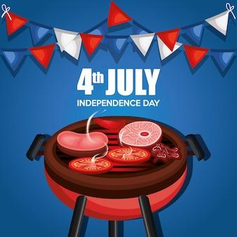Fiesta de la barbacoa del día de la independencia de estados unidos.