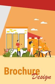 Fiesta de barbacoa familiar. feliz madre, padre, abuelos y niños cocinando carne a la barbacoa y cenando en el patio trasero. ilustración vectorial para fines de semana, ocio, picnic, conceptos de unión