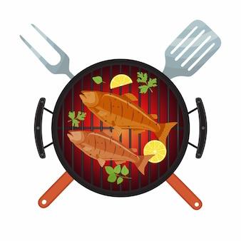 Fiesta de barbacoa, salmón pescado a la parrilla