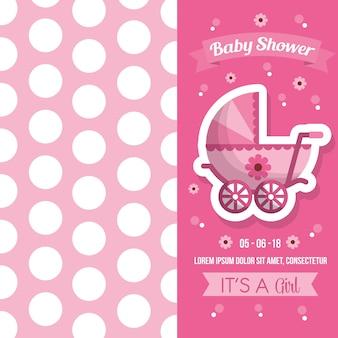 Fiesta de bienvenida al bebé, lunares, rosa, fondo, bebé, carro, flores