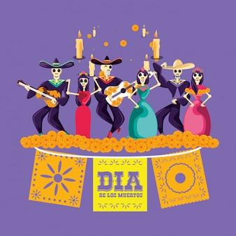 Fiesta de calaveras de mariachi y catrina