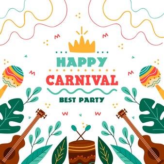 Fiesta de carnaval dibujado a mano colorido