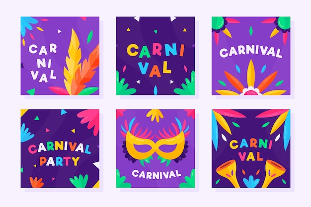 Fiesta de carnaval instagram post set