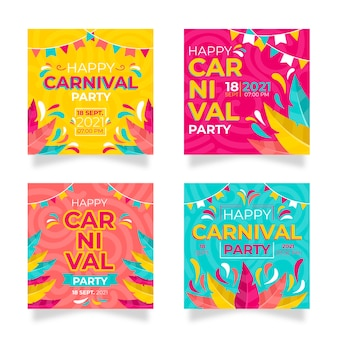 Fiesta de carnaval instagram post set