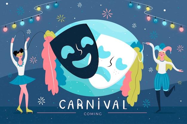 Fiesta de carnaval con máscaras de teatro y gente bailando