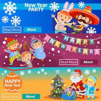 Fiesta de carnaval de navidad, invitación de matiné, tres carteles con niños disfrazados
