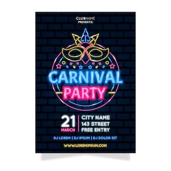 Fiesta de carnaval de neón con máscara de aligeramiento