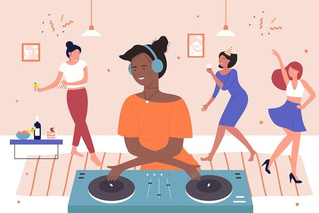 Fiesta en casa de amigos felices con dj, joven personaje de dj femenino negro mezclando música digital moderna