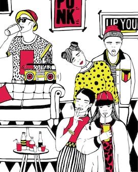 Fiesta en casa con baile, bebiendo jóvenes, música. ilustración colorida dibujada a mano.