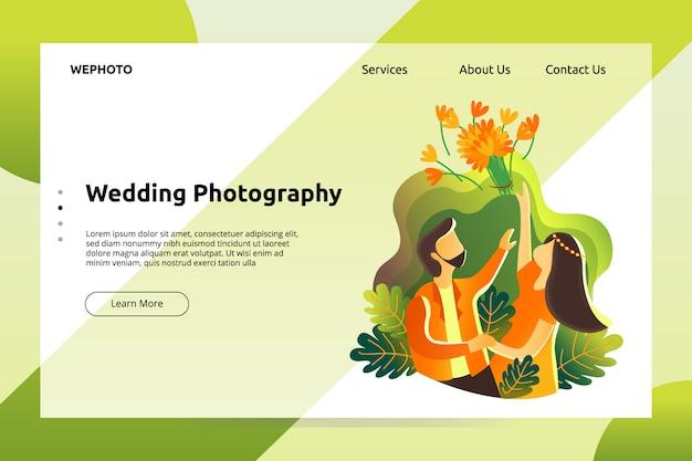 Fiesta de celebración de boda ilustración de página de aterrizaje