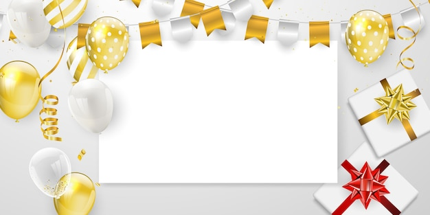 Fiesta de celebración de feliz cumpleaños con globos dorados