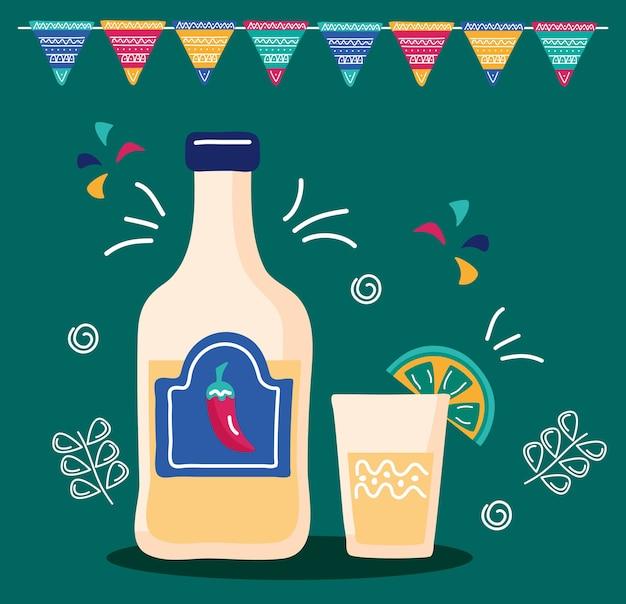 Fiesta de celebración de méxico con botella de tequila y guirnaldas