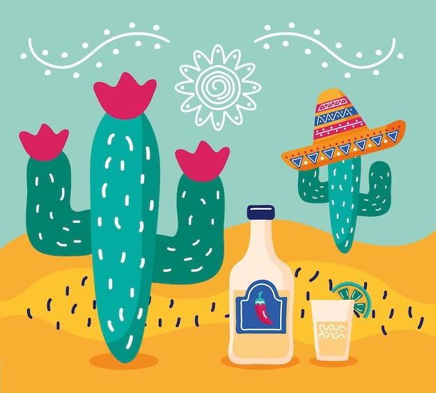 Fiesta de celebración de méxico con cactus con sombrero de mariachi y botella de tequila