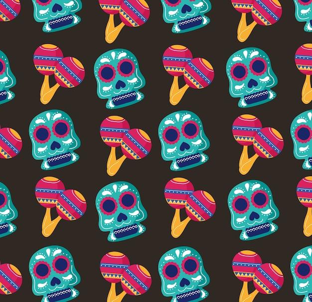 Fiesta de celebración de méxico con calaveras y patrón de maracas