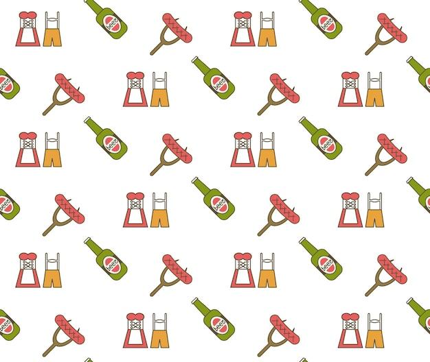 Fiesta de la cerveza oktoberfest celebración de fiestas concepto de patrones sin fisuras tarjeta de felicitación ilustración vectorial