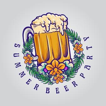 Fiesta de la cerveza de verano con ilustraciones de vidrio