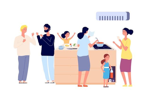 Fiesta con comida. familia con niños en la cocina.