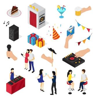 Fiesta conjunto de iconos personas personajes decoraciones bebidas dulces invitación tarjeta y equipo de audio