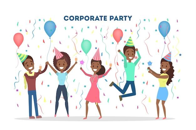 Fiesta corporativa en la oficina con globos y confeti. la gente se divierte y bebe champán. ilustración