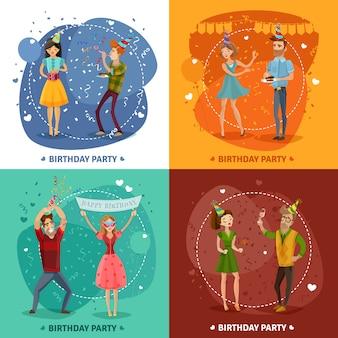 Fiesta de cumpleaños 4 iconos cuadrados composición