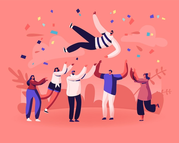 Fiesta de cumpleaños de amigos, enhorabuena de éxito empresarial. ilustración plana de dibujos animados