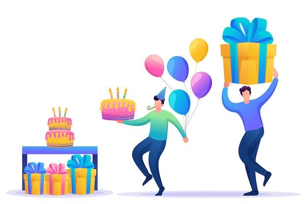 Fiesta de cumpleaños con amigos. la gente lleva regalos, pasteles y globos.