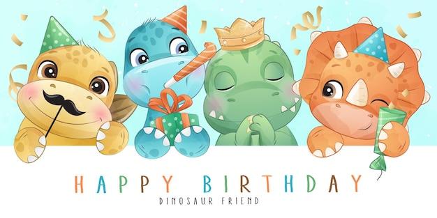 Fiesta de cumpleaños de celebración de dinosaurio lindo en ilustración de estilo acuarela