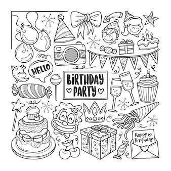 Fiesta de cumpleaños dibujado a mano doodle para colorear