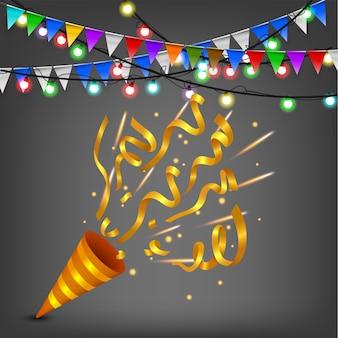 Fiesta de cumpleaños explotando confeti popper, gold edition