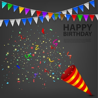 Fiesta de cumpleaños explotando confetti popper