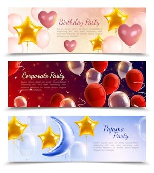 Fiesta de cumpleaños y fiesta de pijamas tres pancartas horizontales decoradas con globos aerostáticos en forma de bolas corazones y estrellas realistas