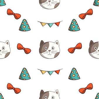 Fiesta de cumpleaños gato kawaii con decoración de patrones sin fisuras con estilo doodle de colores sobre fondo blanco.