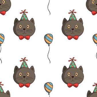 Fiesta de cumpleaños de gato kawaii con globo en un patrón sin costuras con estilo de dibujo de colores sobre fondo blanco