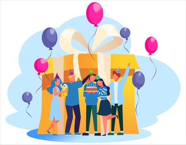 Fiesta de cumpleaños. gente feliz en celebración alrededor de una gran caja de regalo. pastel, música y decoración. fiesta de aniversario. ilustración