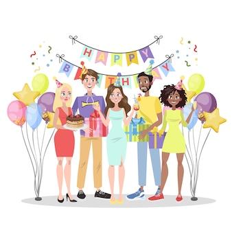 Fiesta de cumpleaños. gente feliz de celebración con caja de regalo. pastel y alcohol, música y decoración. fiesta de aniversario. ilustración