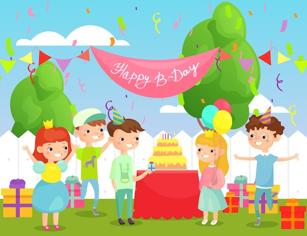 Fiesta de cumpleaños para niños en el patio con muchos niños felices, fiesta de cumpleaños en estilo de dibujos animados planos.