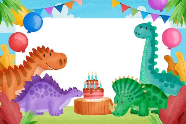 Fiesta de cumpleaños con pastel y dinosaurios.