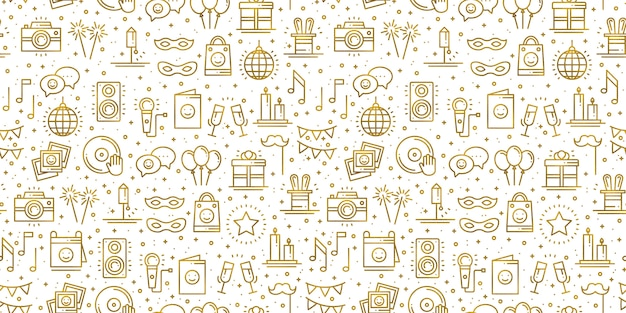 Fiesta de cumpleaños de patrones sin fisuras en oro. elementos de decoración de fiesta: pastel de cumpleaños, regalo, confeti. fiesta, evento, entretenimiento, diversión, tema de carnaval. textura dorada