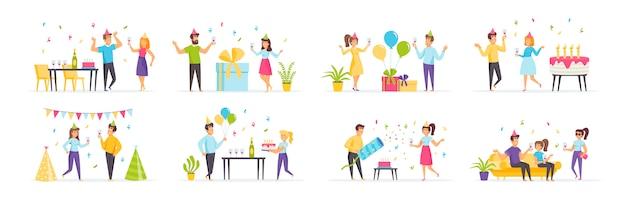 Fiesta de cumpleaños con personajes de personas en diversas escenas y situaciones.