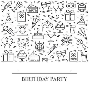 Fiesta de cumpleaños tema banner horizontal.