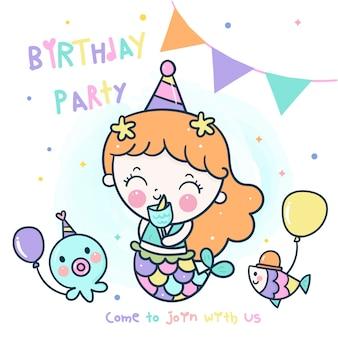 Fiesta de cumpleaños temática de sirena linda con amigo