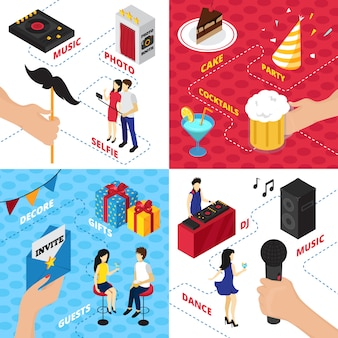 Fiesta con decoraciones cajas de regalo personajes ropa alcohol bebidas equipo de audio y personas