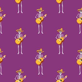 Fiesta del día de los muertos. dea de los muertos de patrones sin fisuras. los esqueletos pintados tocan instrumentos musicales y bailan.