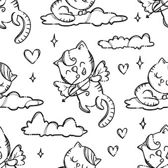 Fiesta del día de san valentín lindo gatito cupido dispara amantes del tiro con arco monocromo dibujado a mano dibujos animados de patrones sin fisuras