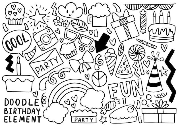 Fiesta dibujada a mano doodle feliz cumpleaños