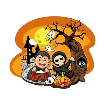 Fiesta de disfraces de halloween para niños aislar sobre fondo blanco.