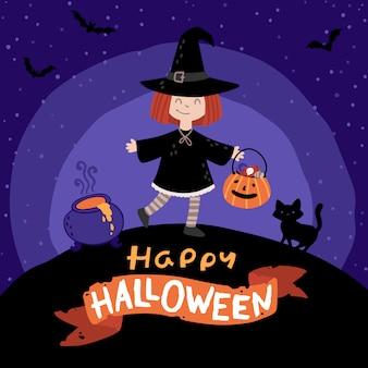 Fiesta de disfraces de halloween para niños. chica en un disfraz de bruja con un gato negro y un balde de dulces.