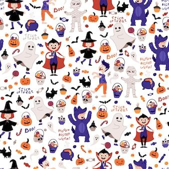 Fiesta de disfraces de niños de halloween de patrones sin fisuras.